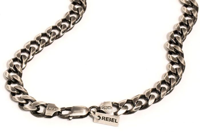 Silver necklace – Gun metal finished